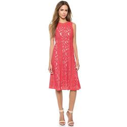 Style LSM68C16-604 BCBGMAXAZRIA Red Size 2 Tall Height Lace Wedding Guest Cocktail Dress on Queenly