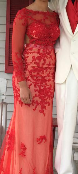 Mac Duggal Red Size 4 Prom Sleeves Train Dress on Queenly