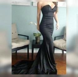 Portia & Scarlett Black Size 8 Pageant Jersey Silk Mermaid Dress on Queenly