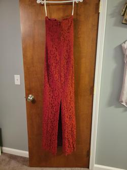 David's Bridal Red Size 8 Lace Davids Bridal Wedding Guest Straight Dress on Queenly