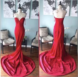 Portia & Scarlett Red Size 6 Jersey Silk Train Dress on Queenly