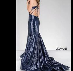Jovani Blue Size 6 Pageant Sequin Train Dress on Queenly