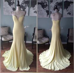 Jovani Yellow Size 4 Pageant Sweetheart Mermaid Dress on Queenly