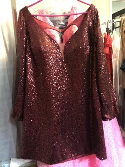 Rachel Allen Curves Red Size 24 Prom Sequin Cocktail Dress on Queenly