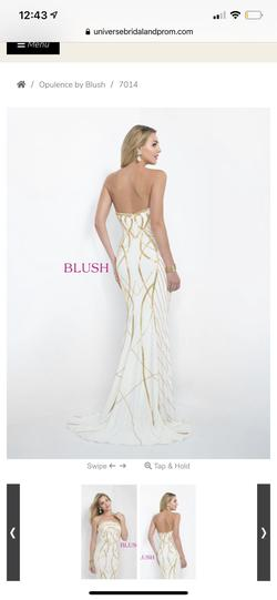 Blush Prom White Size 8 Gold Ivory Straight Dress on Queenly