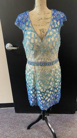 Terani Couture Blue Size 12 Wedding Guest Cocktail Dress on Queenly