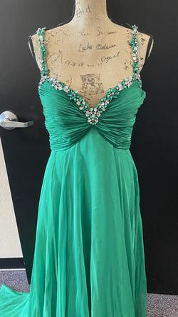 Sherri Hill Green Size 12 Emerald Jewelled A-line Dress on Queenly