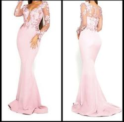 Portia & Scarlett Pink Size 0 Lace Wedding Guest Fitted Mermaid Dress on Queenly
