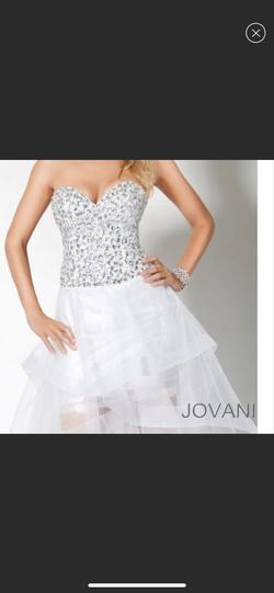 Jovani White Size 4 Beaded Top Corset Jumpsuit Dress on Queenly