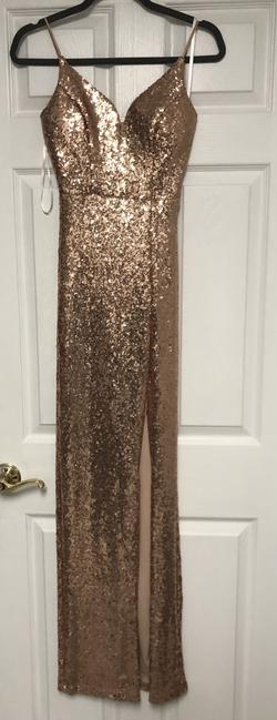 B. Smart Gold Size 2 Sequin Side slit Dress on Queenly