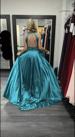 Sherri Hill Blue Size 0 Pageant Teal Train Dress on Queenly