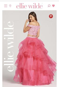 Ellie Wilde Pink Size 4 Flare Ruffles Ball gown on Queenly