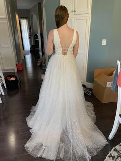 Sherri Hill White Size 4 Plunge Wedding Train Ball gown on Queenly