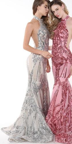 Style 33259 Ava Presley Silver Size 6 Jewelled Halter Tall Height Mermaid Dress on Queenly