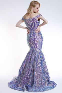 Style 35754 Ava Presley Purple Size 6 Mermaid Dress on Queenly