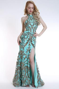Style 35761 Ava Presley Green Size 0 Mermaid Pageant Sequin Side slit Dress on Queenly