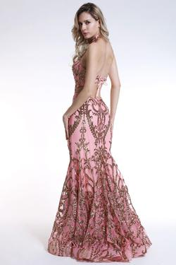 Style 35761 Ava Presley Light Pink Size 6 Sequin Side slit Dress on Queenly