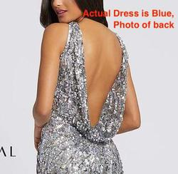 Style 3434 Mac Duggal Blue Size 4 Halter Sequin Pageant Side slit Dress on Queenly