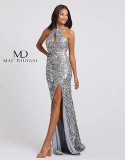 Style 3434 Mac Duggal Silver Size 6 Backless Halter Tall Height Side slit Dress on Queenly