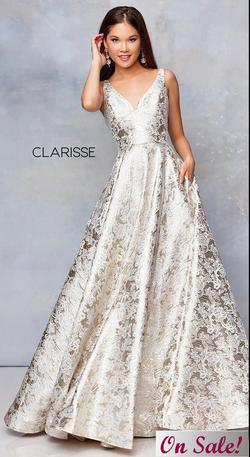 Style 5050 Clarisse Gold Size 6 Plunge Pageant A-line Dress on Queenly