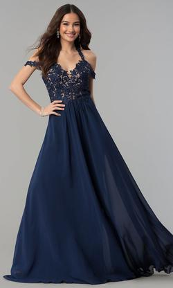 Style 10006 Faviana Blue Size 10 Wedding Guest Bridesmaid A-line Dress on Queenly