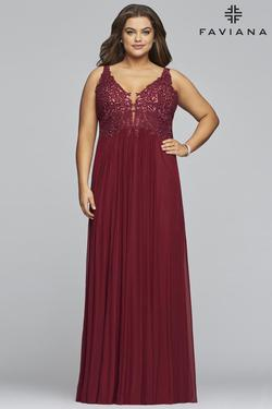 Style 9428 Faviana Red Size 22 Halter Pageant Straight Dress on Queenly