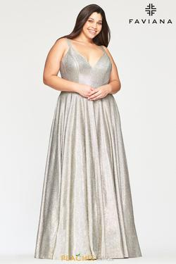 Style 9493 Faviana Silver Size 24 Halter Pageant A-line Dress on Queenly