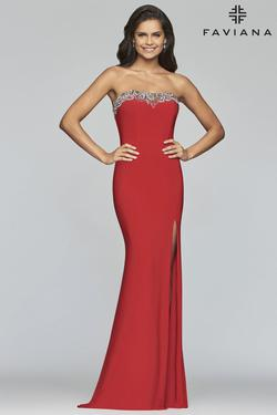 Style S10200 Faviana Red Size 6 Strapless Mermaid Dress on Queenly