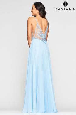 Style S10431 Faviana Blue Size 6 Plunge Wedding Guest Bridesmaid Side slit Dress on Queenly