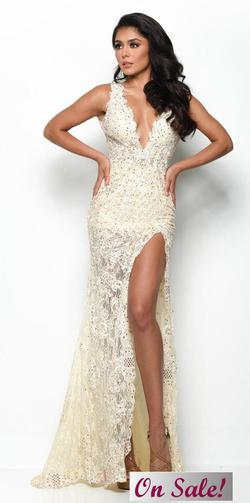 Style 7051 Jasz Couture Nude Size 4 Tall Height Sheer Lace Side slit Dress on Queenly