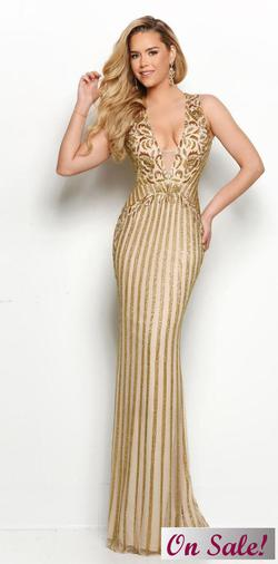 Style 7105 Jasz Couture Gold Size 12 Pageant Sequin Mermaid Dress on Queenly