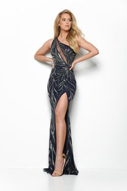 Style 7126 Jasz Couture Blue Size 6 Pageant Tall Height Side slit Dress on Queenly