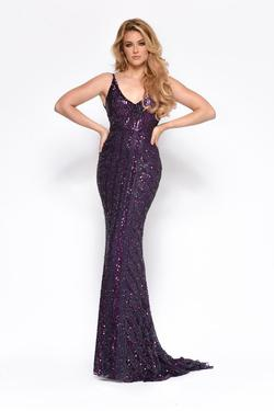 Style 7156 Jasz Couture Purple Size 12 Pageant Mermaid Dress on Queenly