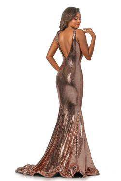 Style 2044 Johnathan Kayne Gold Size 2 Plunge Pageant Mermaid Dress on Queenly