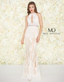 Style 12150 Mac Duggal White Size 8 Prom Halter Tall Height Mermaid Dress on Queenly