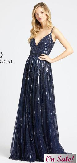 Style 4961 Mac Duggal Blue Size 8 Tall Height Wedding Guest Straight Dress on Queenly
