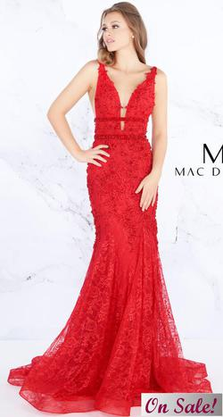 Style 66707 Mac Duggal Red Size 2 Pageant Tall Height Mermaid Dress on Queenly