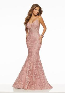 Style 43017 Mori Lee Pink Size 10 Tall Height Lace Mermaid Dress on Queenly