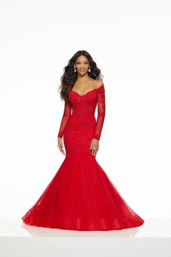 Style 43060 Mori Lee Red Size 12 Long Sleeve Pageant Tall Height Mermaid Dress on Queenly