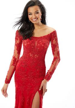 Style 46037 Mori Lee Red Size 6 Pageant Tall Height Sheer Lace Mermaid Dress on Queenly