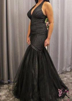 Style 11278 Pia Michi Black Size 8 Prom Halter Mermaid Dress on Queenly