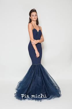 Style 1932 Pia Michi Blue Size 6 Prom Wedding Guest Mermaid Dress on Queenly