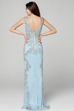 Style 3425 Primavera Light Blue Size 14 Wedding Guest Bridesmaid Mermaid Dress on Queenly