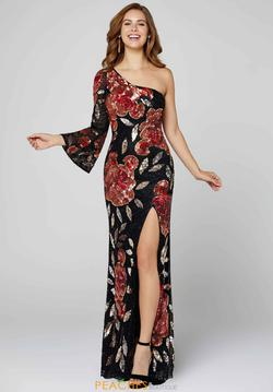 Style 3449 Primavera Black Size 6 Pageant Tall Height Side slit Dress on Queenly