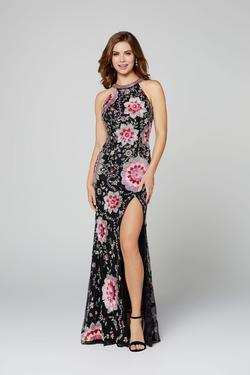 Style 3461 Primavera Black Size 2 Floral Prom Pattern Side slit Dress on Queenly