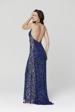 Style 3471 Primavera Blue Size 0 Halter Tall Height Wedding Guest Mermaid Dress on Queenly
