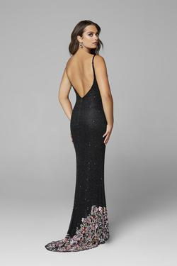 Style 3618 Primavera Blue Size 8 Tall Height Wedding Guest Side slit Dress on Queenly
