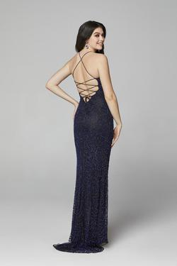 Style 3638 Primavera Blue Size 6 Corset Tall Height Wedding Guest Side slit Dress on Queenly