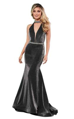 Style 6436 Rachel Allan Black Size 4 Pageant Halter Tall Height Mermaid Dress on Queenly
