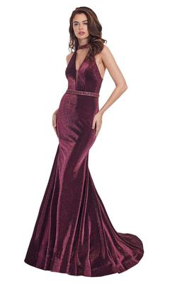 Style 6436 Rachel Allan Red Size 10 Pageant Halter Tall Height Mermaid Dress on Queenly
